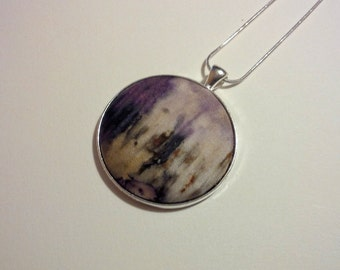 Naturally Dyed Ecoprint Silk Pendant in Soft Greys, Browns, Purple and Black