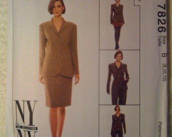 McCalls 90s Sewing Pattern 7826 Misses Lined Jacket, Pants and Skirt Size 8-12