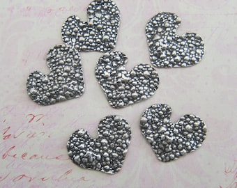SALE 6 Silver Textured Heart FIndings 3899T