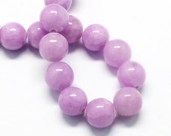20 Jade Beads 8mm Lilac Purple Gemstone Beads 8mm Set of 20 - BD985