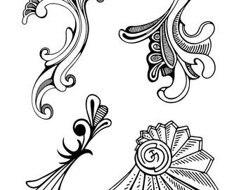 Fancy Flourish Collection- Clear Polymer Stamps