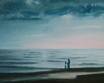 Oil Painting Mother and Daughter on the Beach at Sunset Impressionism Fine Art Signed Original