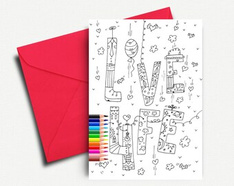 Romantic Card, Love Greeting Cards, Coloring Cards, Love Card, Printable Valentine Card, I Love You, Greeting Card, INSTANT DOWNLOAD
