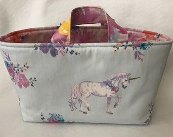 Unicorn Toy Basket / Organizer Basket / Fabric Basket / Organizing Bin / Floral Basket / Toy Tote