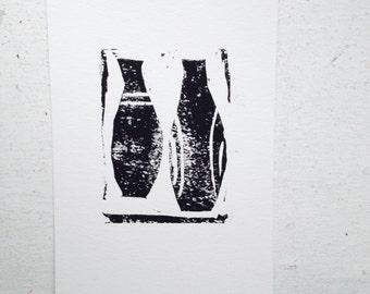 linoprint, linocut print, blockprint, art print, handprinted, handpulled, handcarved, print, wall art, 5x7