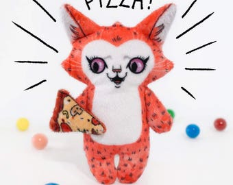 Pizza Cat Sam - Illustrated cat doll  - Soft Minky plush stuffed animal