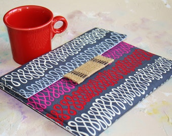 Kindle Cover Padded, Kindle Case, Nook Cover , Ereader Case, Custom Sleeve in Retro Wire