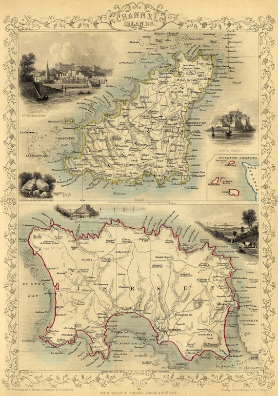 Channel Islands old map Guernsey map Jersey map