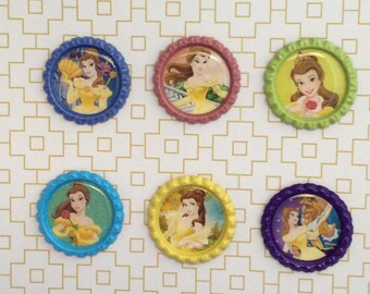 Belle Princess Inspired Bottle Caps Necklace/Keychain/Zipper Pull