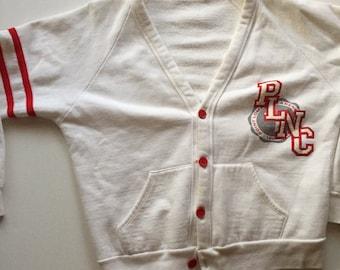 PLNC cardigan sweatshirt white vintage 80's Point Loma Nazarene College small medium