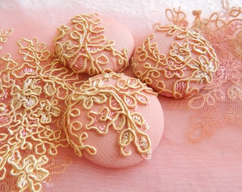 3 peach gold embroidered fabric buttons, 1 7/8 inches, 1.9 inches, 4.7 cm, 48.26 mm, size 75 buttons