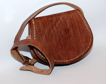 BIG SALE! Moroccan Simple Brown Leather Cross Body Shoulder Bag