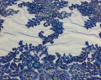 3D Sparkle Roses Sequins On Mesh Fabric With Beads By The Yard Used For -Dress-Bridal-Fashion [Royal Blue] Free Shipping!!!