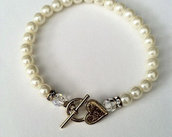 Faux Pearl Bracelet with Heart Toggle Closure and Swarovski Crystal Detail
