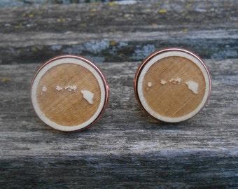Hawaii Cufflinks. Choose Your Metal Color. Laser Engraved Wood. Wedding, Men, Groom, Groomsmen Gift, Dad. Birthday, Anniversary