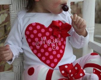 Baby Girl Valentine Bodysuit or Girl Shirt -monogrammed with her name - hand cut applique with hand sewn bow