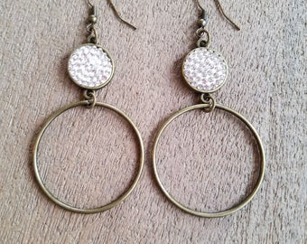 Pave Brass Hoop Earrings