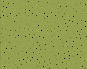 Clothworks Fabric Carte Postale Dots on Olive Y2294-24