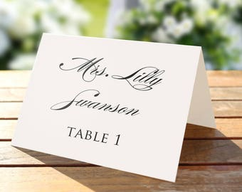 Printable place card template, Wedding place cards, Editable artwork color, Formal Seating Card, Wedding name tags, Rustic, Romantic, pdf