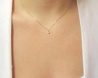 Tiny CZ Gold Necklace, Gold Choker, Gold Necklace, Dainty Gold Necklace, Cubic Zirconia Necklace, CZ Necklace, Rose Gold Necklace