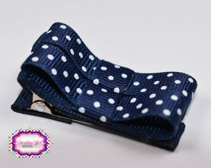 Navy Dots Hair Clips Basic Tuxedo Clips Alligator Non Slip Barrettes for Babies Toddler Girl Set of 2