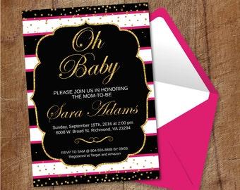 Printable Black and White Stripes Baby Shower Invitation, Pink And Gold Baby Shower Invite, Gold Glitter Confetti Bridal Shower Invitation