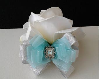Blue and Silver Wrist Corsage-Spa Blue Corsage-Wedding Corsage-Prom Corsage-Homecoming Corsage
