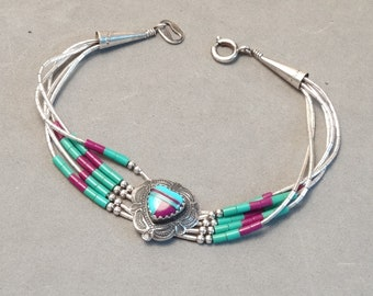 Vintage Zuni Native American Heart Bracelet Blue Green Purple Turquoise Sterling Silver Liquid Silver Links Southwest Jewelry