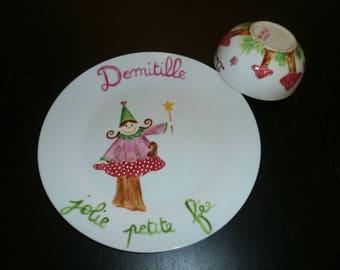plate 24 and 400 ml Bowl handpainted fairy on mushroom