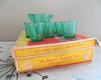 Akro Agate Co. No. 1030 Green Water Set Play Time Glass Dishes Green Akro Tea Set Childrens Tea Set Childrens Dishes Childs Tea