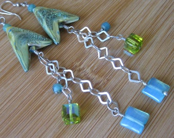 Fancy Light Blue and Olive Lampwork Glass, Czech Glass, Swarovski Crystal, and Flat Square Sterling Chain Dranatic Earrings