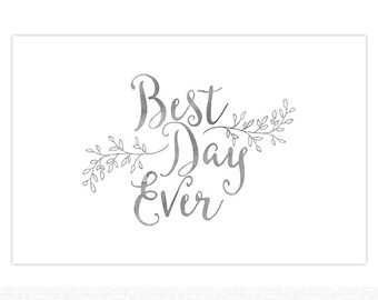 "Paper Placemats | Wedding Reception Paper Placemats Pad of 25, 17"" x 11"" in.  100# Cover Card Stock Paper Best Day Ever Wedding"