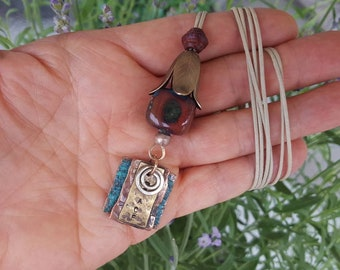 Mixed material pendant, lampwork and forged copper, turquoise, brass, 2 in 1 pendant, assemblage pendant, blue and copper, raw metal pendant