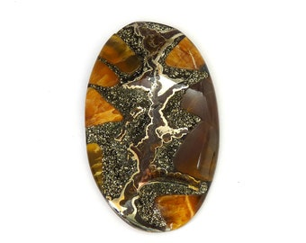 Fossil Ammonite with Nautral Pyrite Druzy Designer Cabochon Gemstone 40.9x65.6x7.5 mm 146 carats Free Shipping
