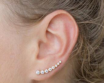 Gold ear crawlers - gold ear climbers - gold earrings - dainty jewelry