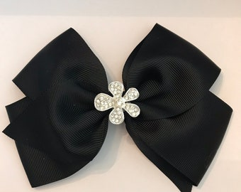 Large Black Grosgrain bow with fancy, dressy Rhinestone metal center looks like a flower on alligator clip for Babies Girls Toddlers Women