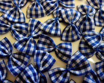 Royal Blue Plaid Bows/Gingham for Sewing, Crafting, Doll's Clothing, Scrapbooking Embellishment, Doll Booties,  1 inch/ 25 mm, 30 pieces