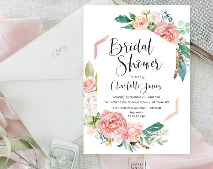 Pink Floral Greenery Bridal Shower Invitation - Geometric Faux Rose Gold - Garden Shower - Peony Roses Blush Invitation Watercolor Printable
