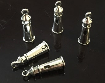 5PC 3D Lighthouse Charm-Beach Charm-Antique Silver Tone Charm