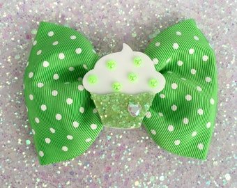 Cupcake Glitter Sweet Heart Hair Bow - Green - Pinup - Retro