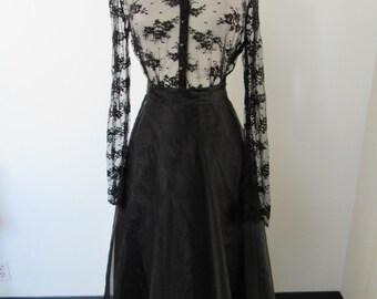 Organza Ballgown Skirt - Black Vintage SZ 4 - 6