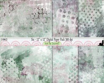 12 x 12 inch Shabby Purple Green Taupe Painted Scrapbook Background Papers Set of 6 Digital Cardstock JPEG Commercial Use 1962