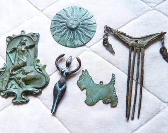 Collection of Verdigris patina brass stampings