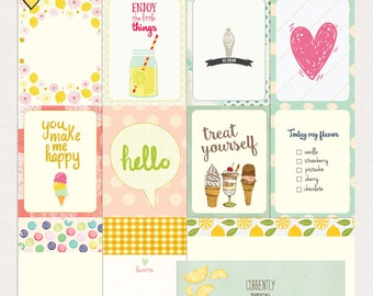 Ice cream&lemonade Journal Cards - Instant Download - Printable journaling cards for Project Life and digital scrapbooking