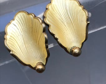 Vintage Sterling Silver Clip On Earrings . Guilloche  Enamel .  Norway Norwegian Hans Myhre Jewelry