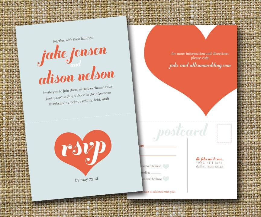 How Big Are Wedding Invitations: Modern Wedding Invitation With Perforated Rsvp Postcard Big