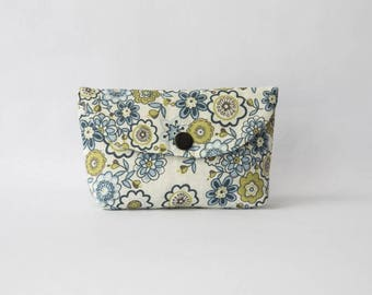 Clutch or small purse in blue, green floral print cotton
