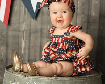 Baby Girl Romper| Romper & Headband Set | Stars | 4th of July | Baby Romper | America | Patriotic | Baby Headband | USA | Baby