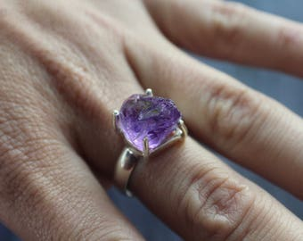 Raw Amethyst Ring, 925 Sterling Silver, Size 8, Translucent Amethyst, February Birthstone, Amethyst Jewelry, Bohemian