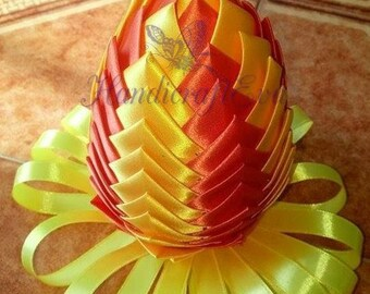Easter egg, Artichoke egg, Easter decoration, Easter egg wrapped in ribbon